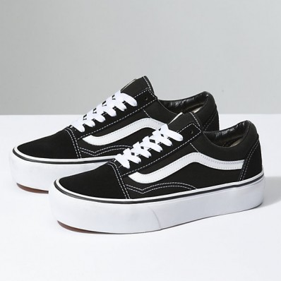 vans old school black platform